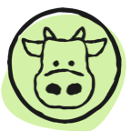 drawing of cow in circle