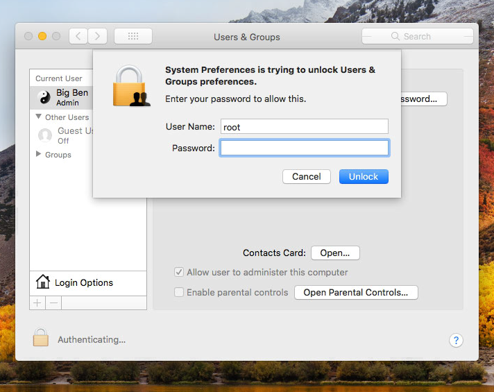 How to avoid macOS High Sierra Admin Access No Password Bug