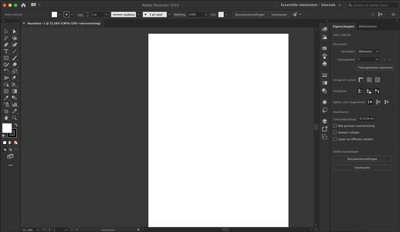 Screenshot Adobe Illustrator interface verschil