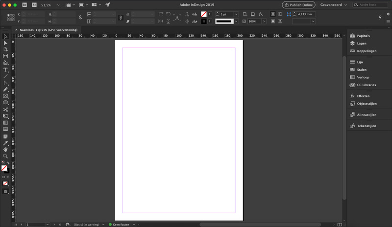 Screenshot Adobe InDesign interface verschil