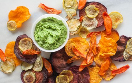 These healthy alternative to chips are fun to make and more fun to eat as a healthy office snack! Try veggie chips as your desk snack!