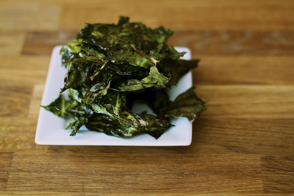 Swiss chard veggie chips on a plate
