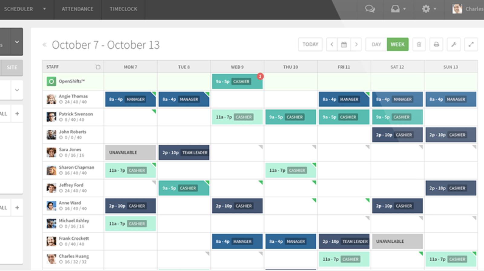 Screenshot of wheniwork calendar