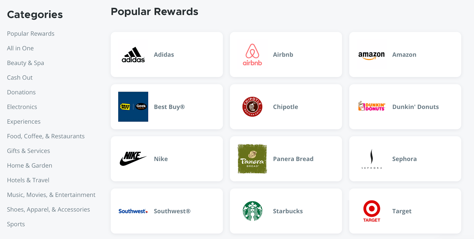 Bonusly rewards available for peer to peer recognition including Airbnb, Starbucks and Target