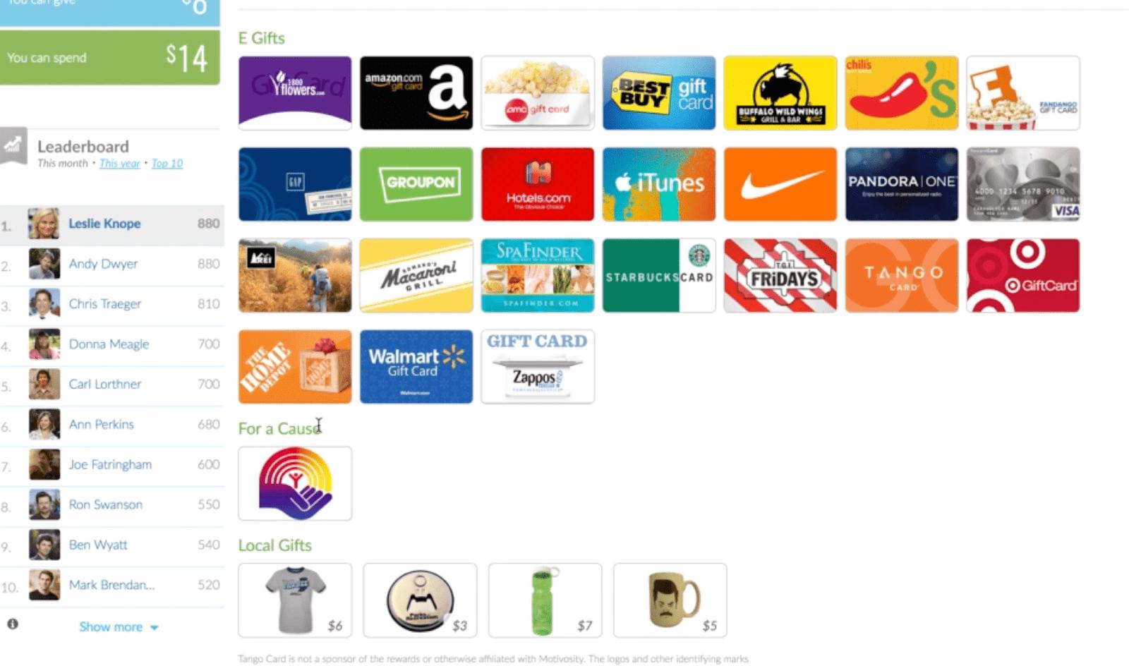 Rewards available on Motivosity employee engagement app including Amazon, Best Buy and Walmart.
