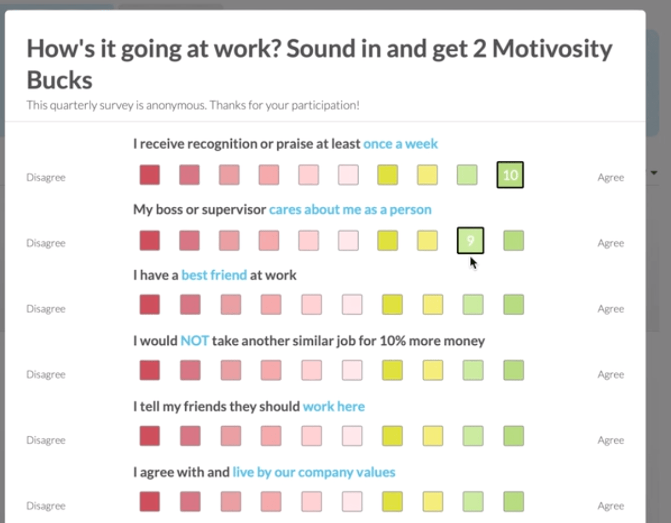 Survey example offered to companies by the Motivosity employee recognition app.