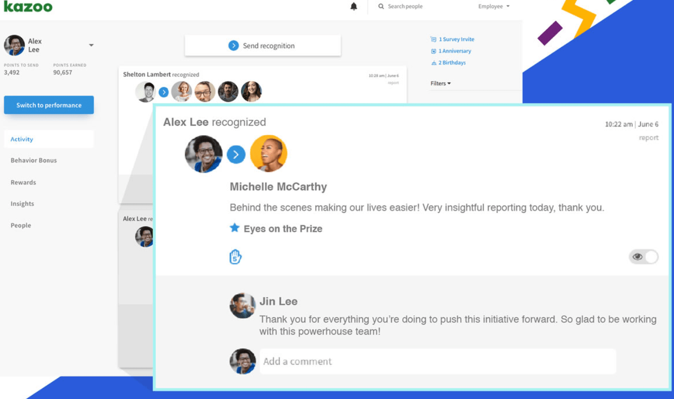 Employee recognition sharing using the Kazoo app