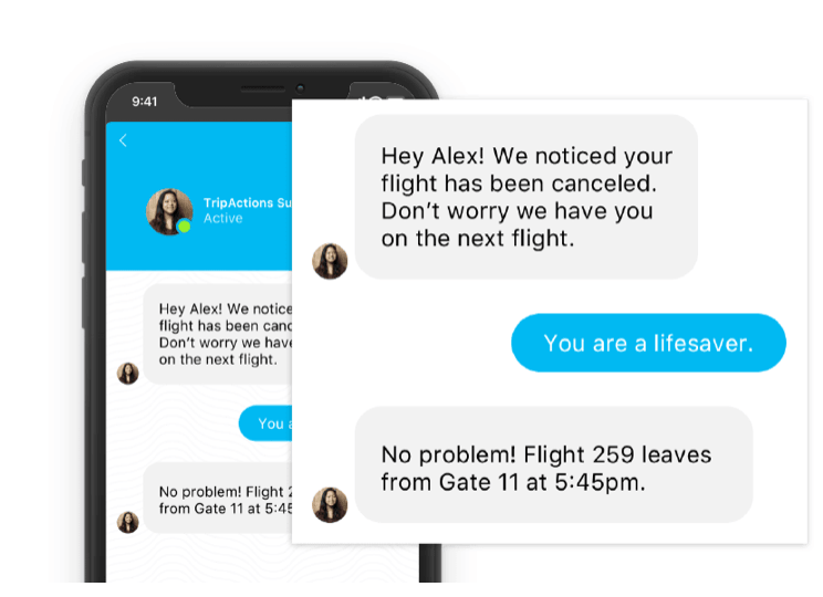 TripActions support chat for corporate travel assistance