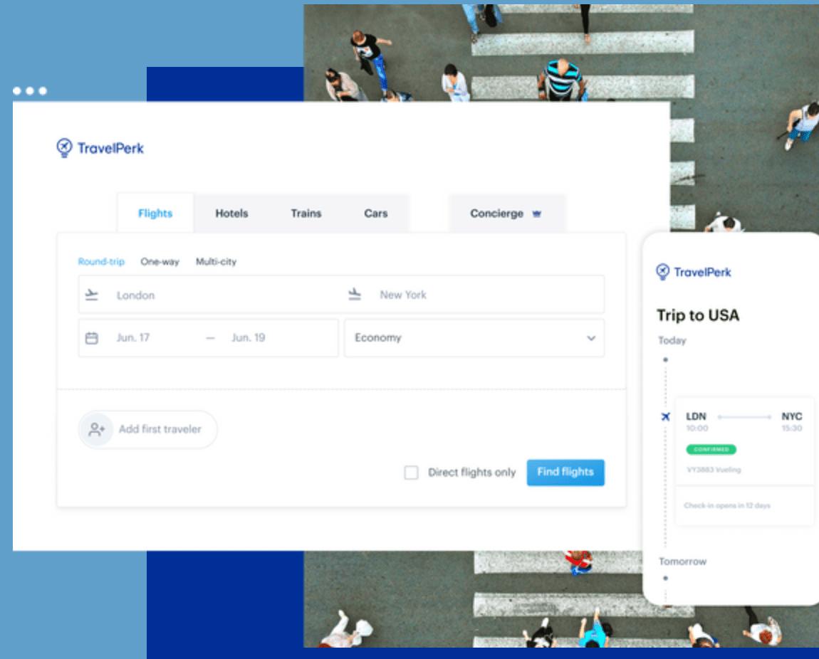 TravelPerk user interface for corporate travel management