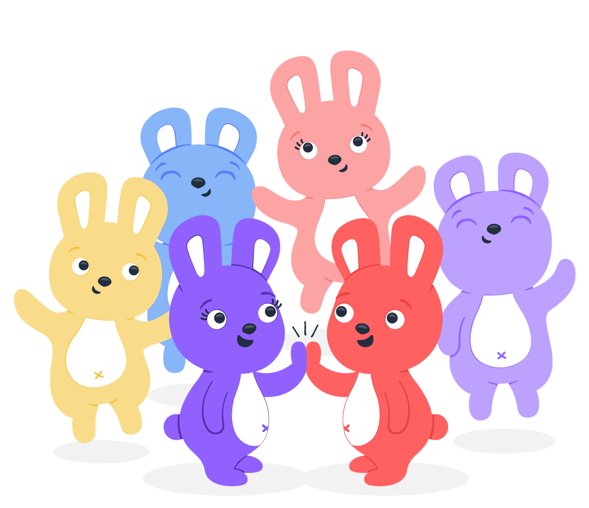 Six Hoppy bunnies jumping together in celebration of employee appreciation in their office
