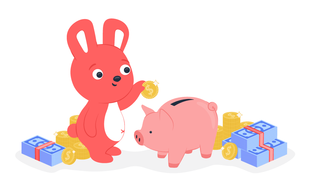A Hoppy bunny surrounded by money and putting a coin into a piggy bank from his employee appreciation initiatives