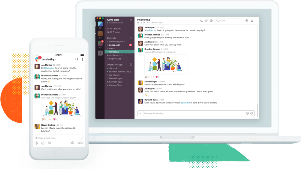 Desktop screen and phone screen side by side displaying Slack for team collaboration