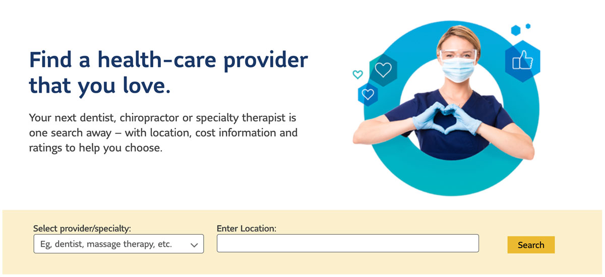 "Snippet of the Lumino Health website where employees can ""Find a health-care provider"" by their required specialty and location. Includes a nurse making a heart with her hands."