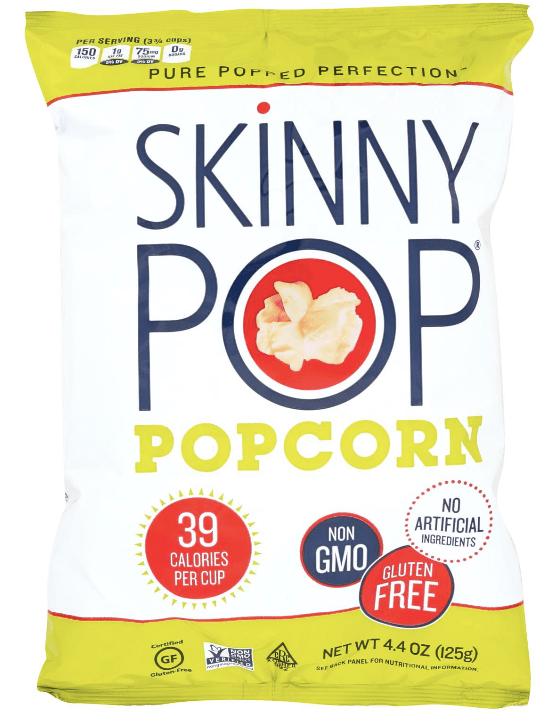 Bag of Skinny pop popcorn. This vegan snack has 39 calories per cup.