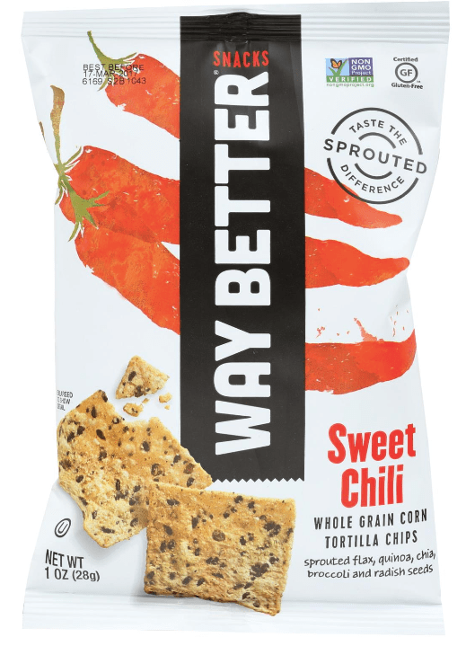 Bag of Way Better tortilla chips. This vegan snack is made from whole grain corn.