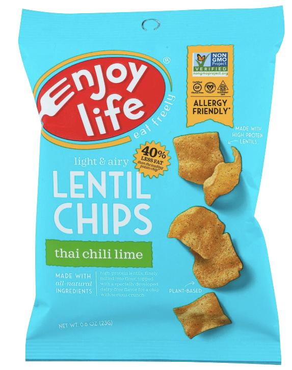 Bag of Enjoy Life lentil chips. This vegan snack is Thai chili lime flavor.