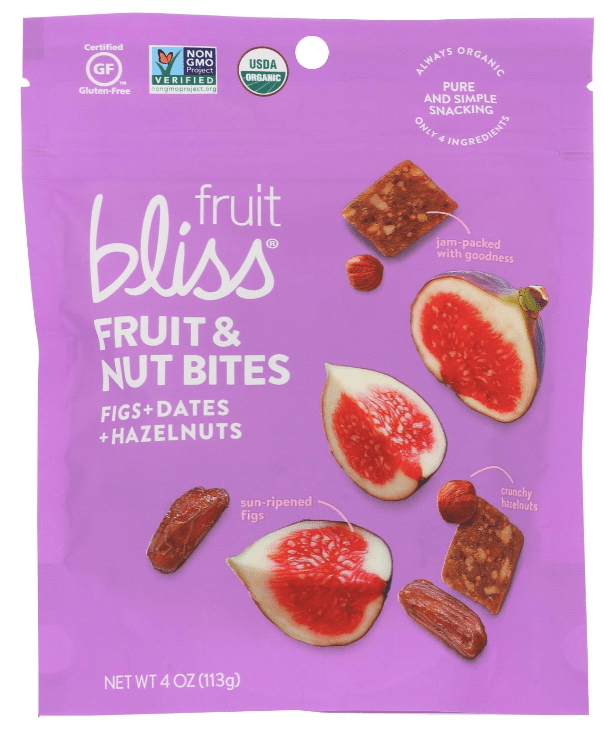 Bag of Fruit Bliss fruit and nut bites vegan snacks. combination of figs, dates and hazelnuts.