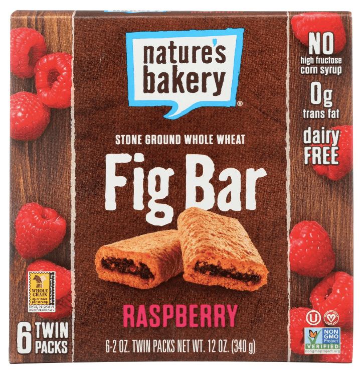 Box of Nature's Bakery fig bars. This vegan snack is raspberry flavored.