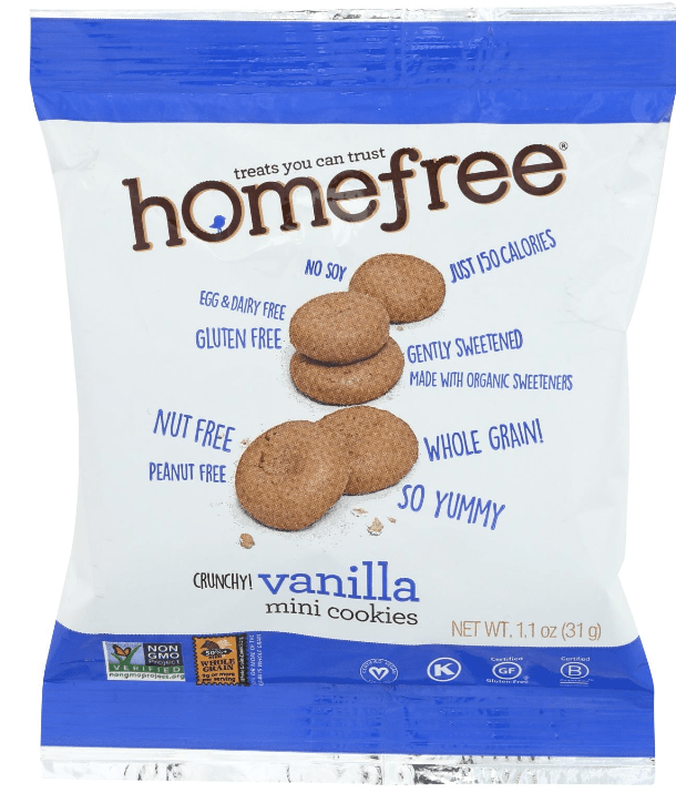 Bag of homefree crunchy vanilla cookies. These vegan snacks are gluten-free, peanut free and made with organic sweeteners.