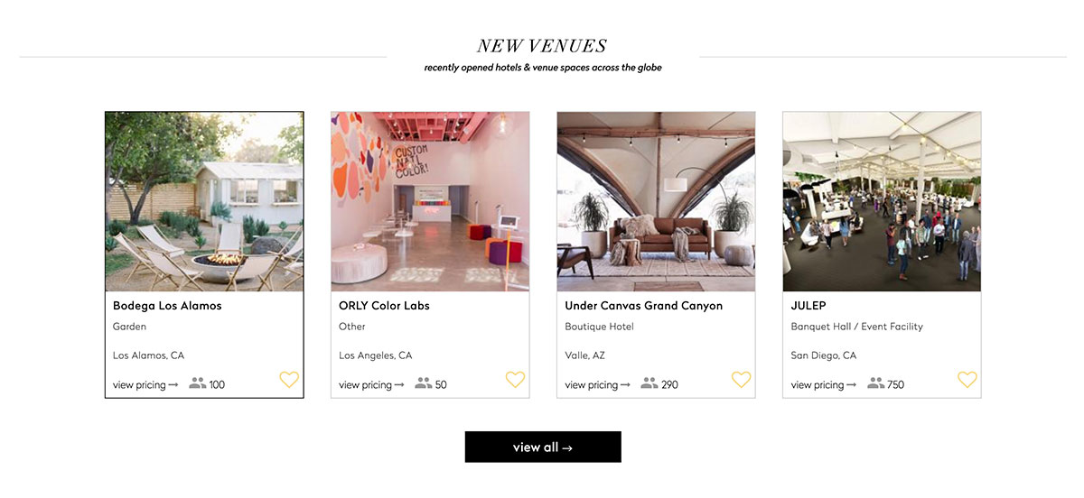 Venue Report interface that helps you organize a corporate retreat.