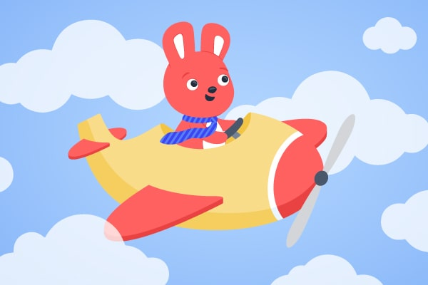 Hoppy traveling on a plane through the clouds for business