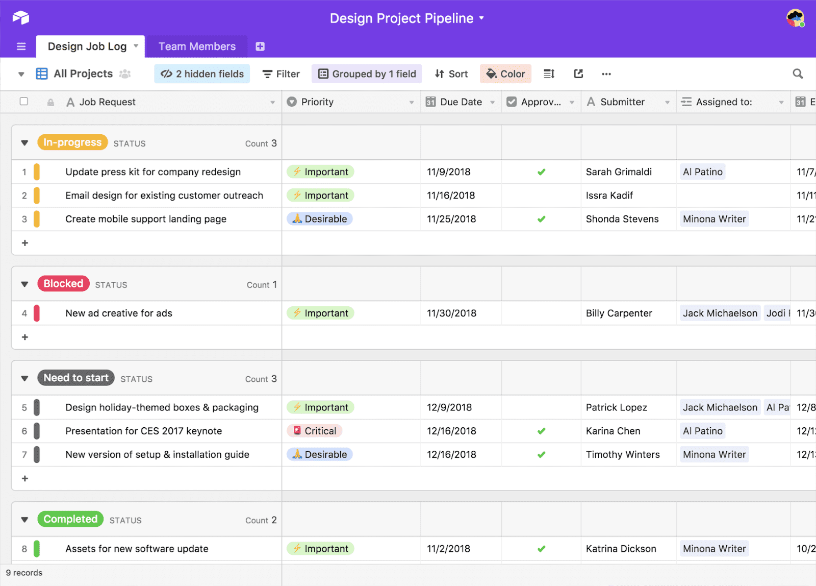 Airtable data management tool showing organizational capabilities for managing office projects