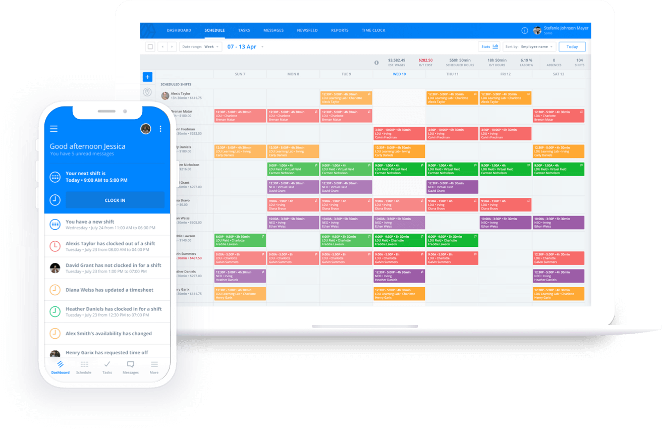 Sling Employee scheduling software showing mobile and desktop scheduling features