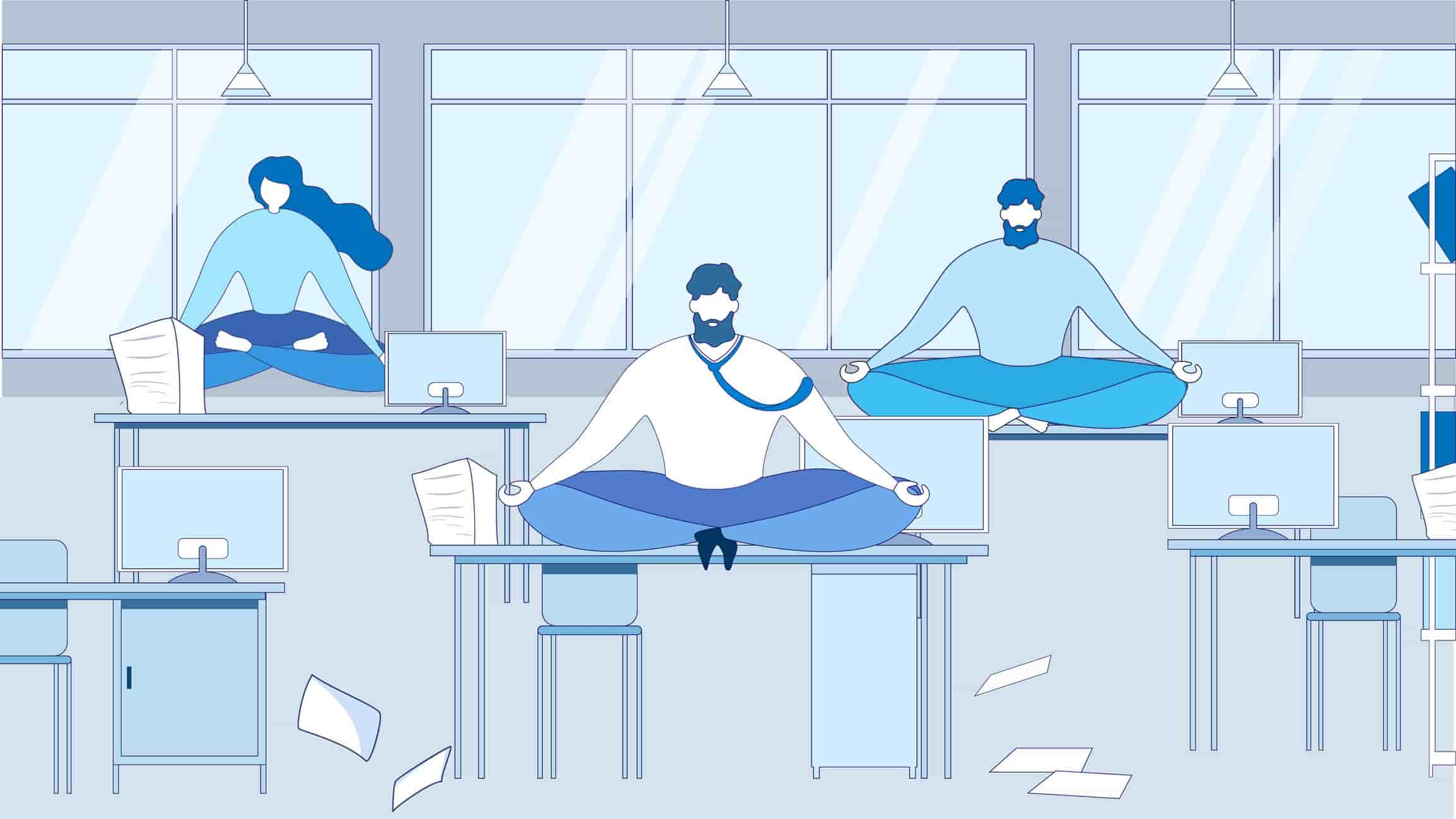 Cartoon employees participating in a workplace wellness day by doing yoga on their desks