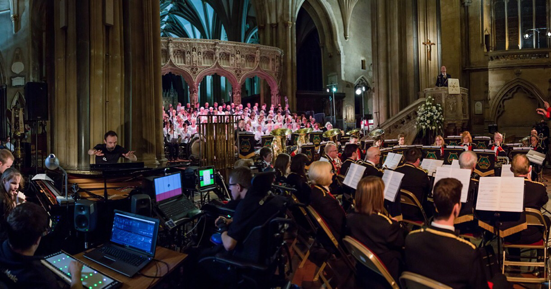 Silver Rose, Lydbrook Band, University of the West of England Singers, South-West Open Youth Orchestra, Barry Farrimond, Ian Holmes, Bristol Cathedral, April 2016. Photo Paul Blakemore www.paulblakemore.co.uk