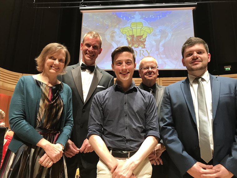 RWCMD Cory Composition Competition, 20 May 2017. From L-R: Liz, Philip Harper, Andy Wareham, Nigel Seaman, Christopher Bond.