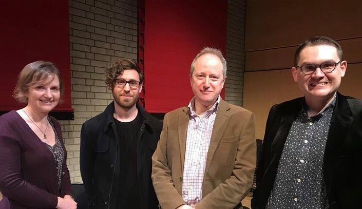 Meet the Composers, RNCM Brass Band Festival, 27 January 2018. From L-R: Liz, John Pickard, Gavin Higgins, Paul Mealor.