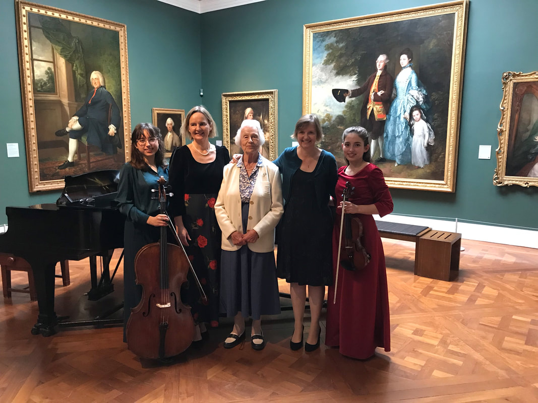 Premiere of Brightest Day a Cloud, Corde di Gioia, Holburn Museum, Bath. L-R Anna Johannsen, Maria Johannsen, Jennifer Henderson (lyricist), Guily Johannsen, 18 September 2018.