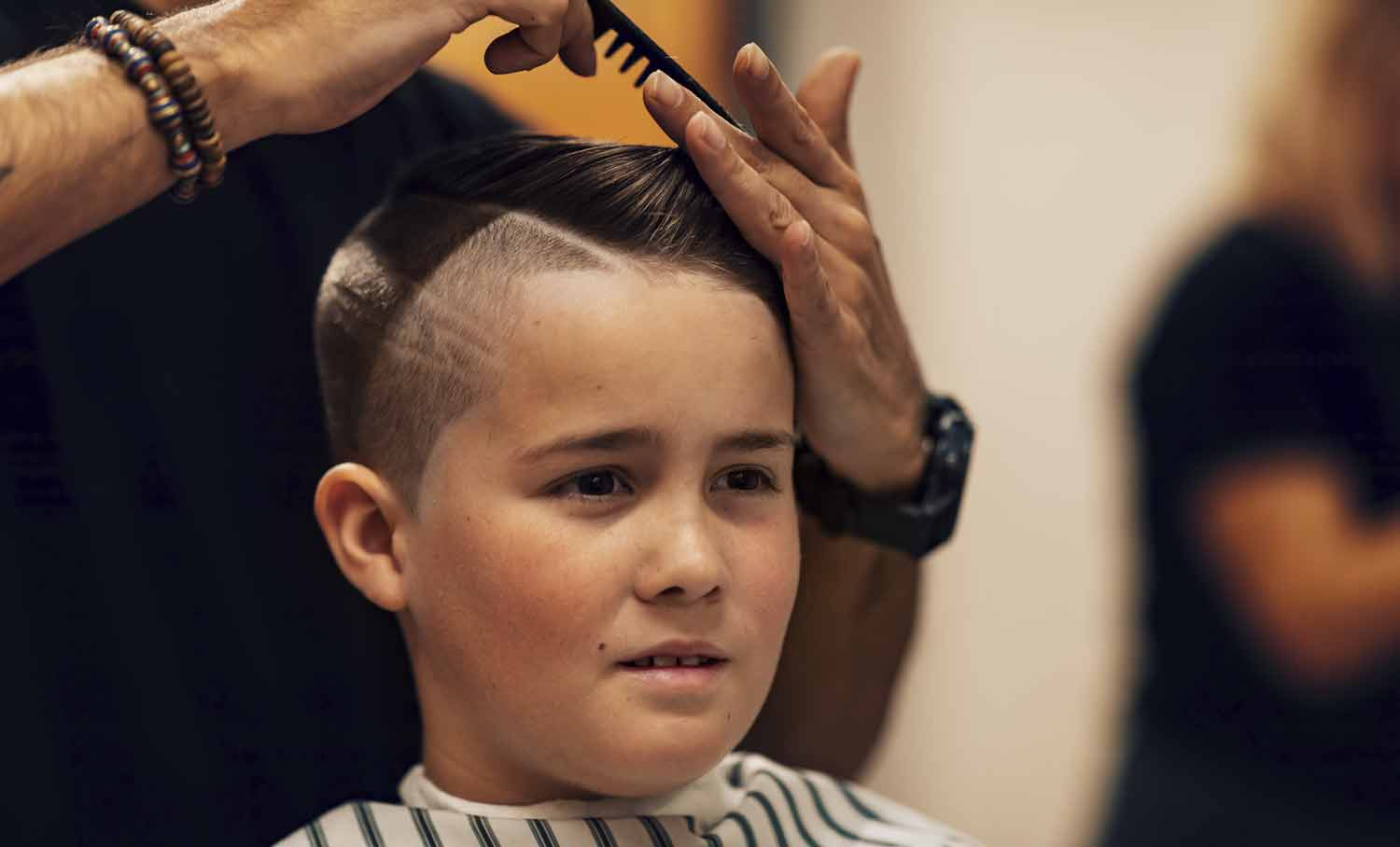 Barber Styling Young Boys Hair, The final touches.