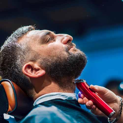 Customer In Barbershop Getting Beard Treatment In Richmond NSW