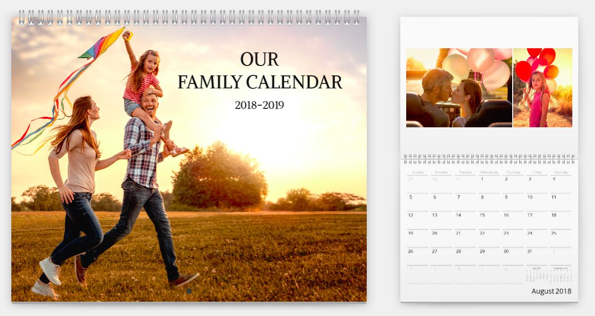 Mimeo Photos calendar of family