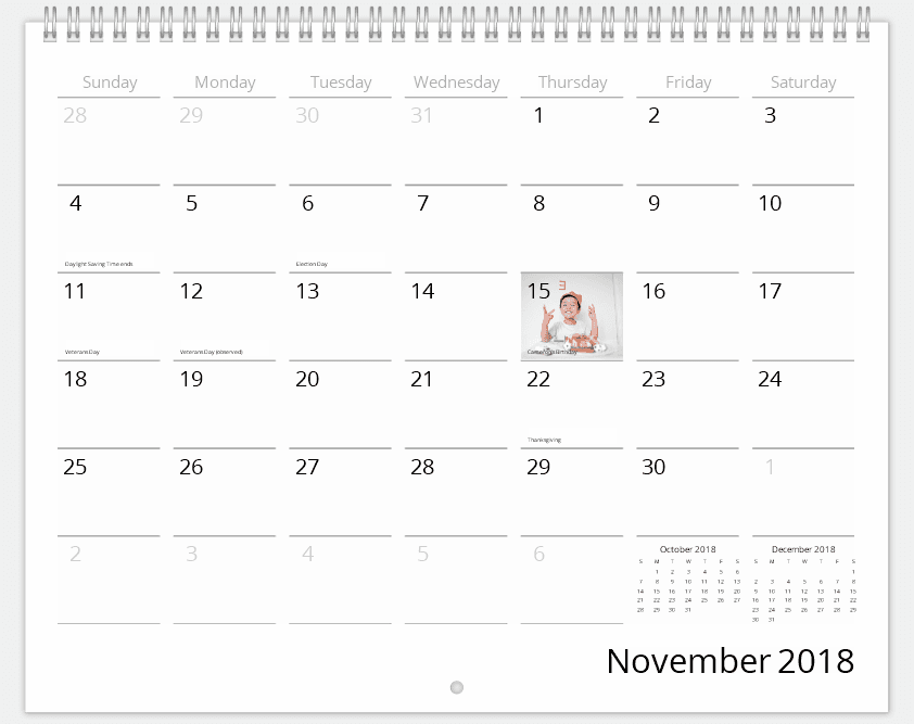 Customize calendar dates with birthdays