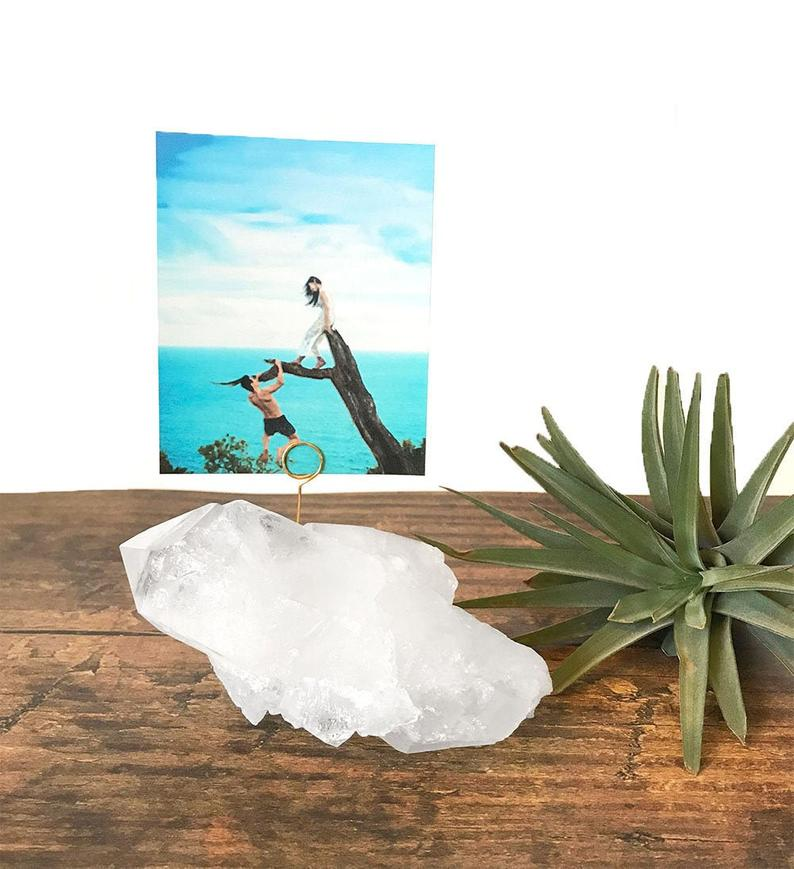 Crystals make a tiny photo holder as an alternative to frames
