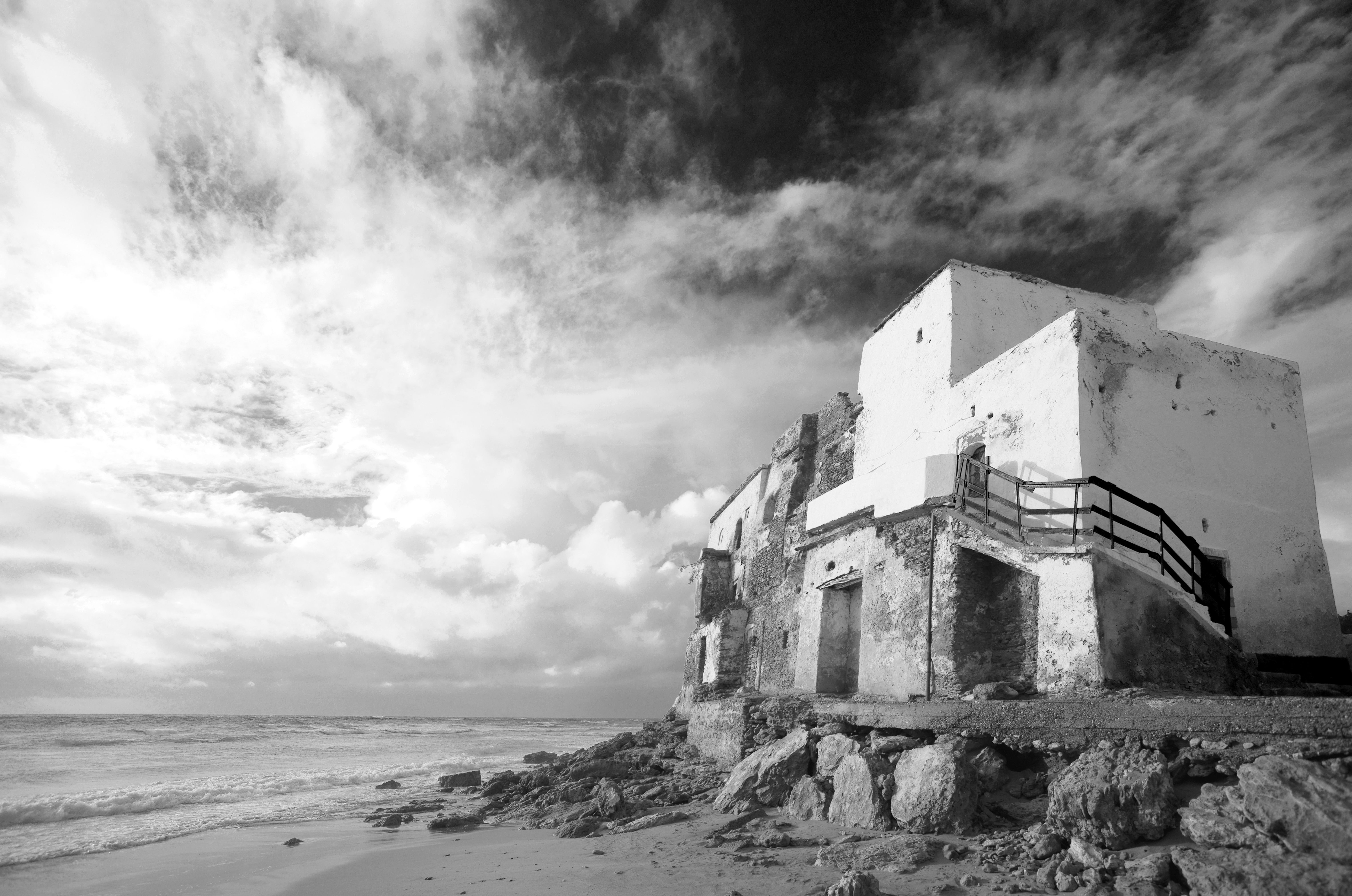 Nigel Barker Photography presents Beach Ruin in black and white