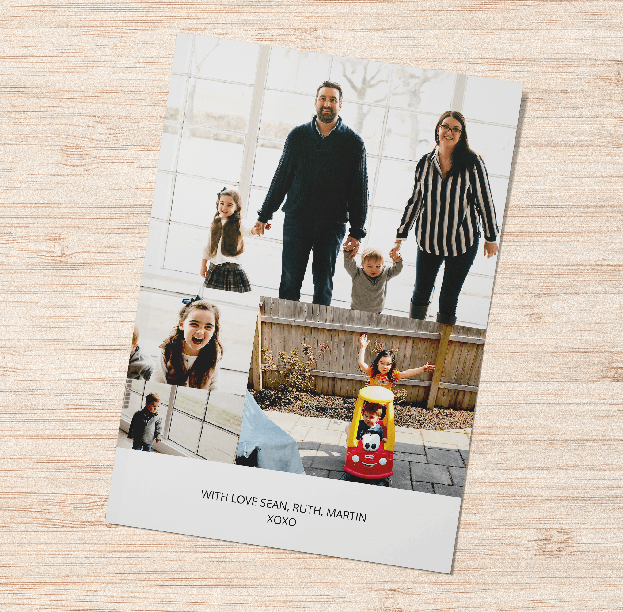 Sean D. creates a family photo card in a folded format
