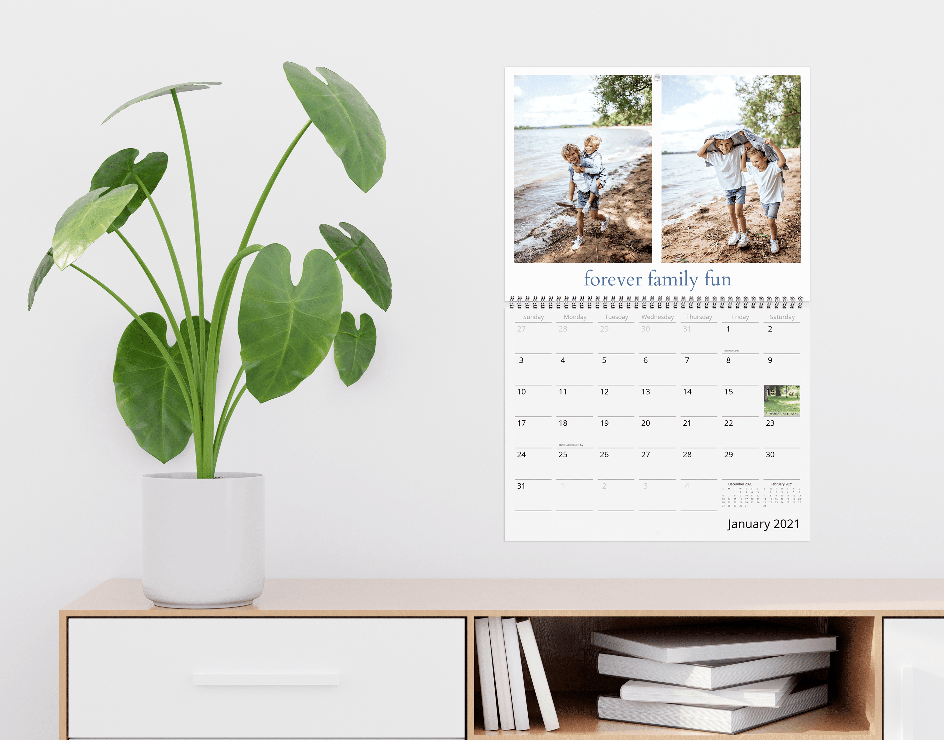 Create a mindful home learning area with a photo wall calendar