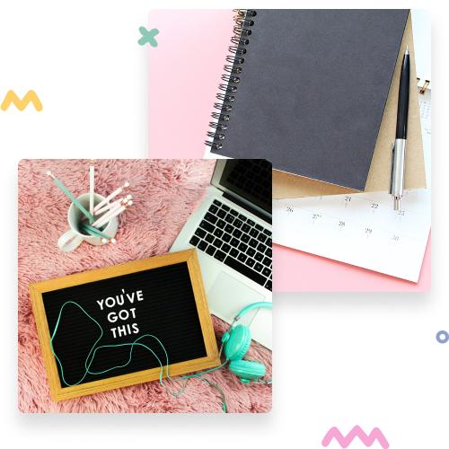 Photos of a workshop and a calendar