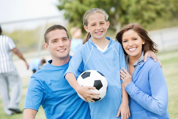 Soccer practice family