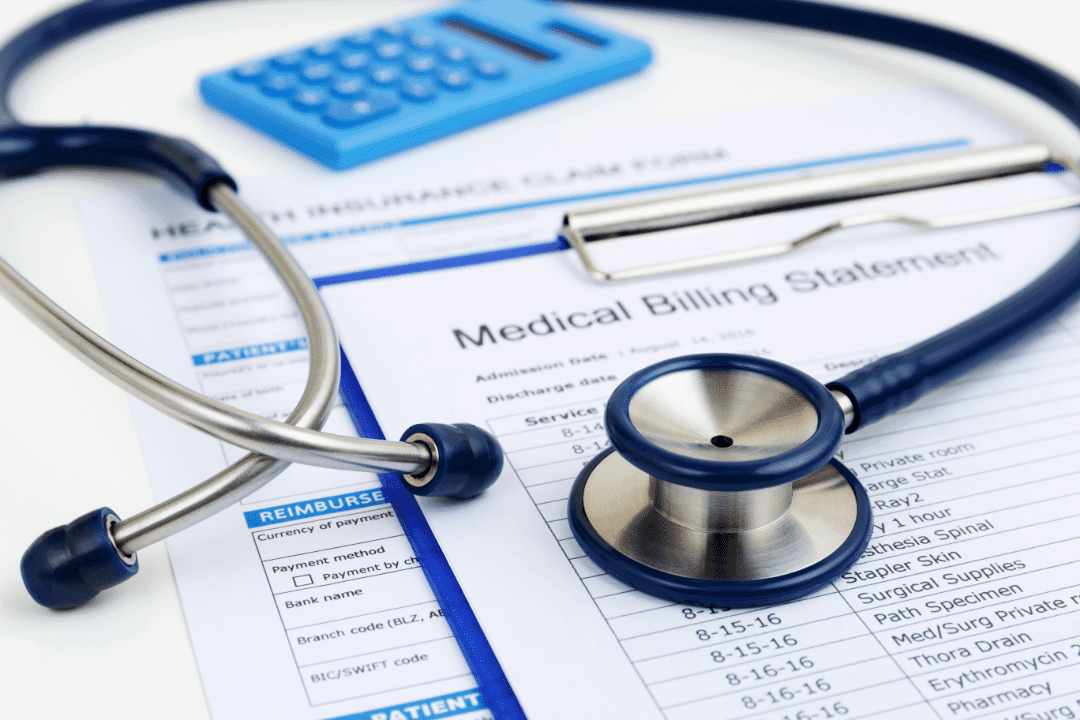 medical bills stethoscope papers laptop blue calculator visual representation cost