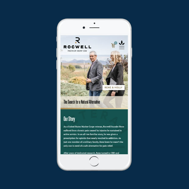 DesignGood Rocwell CBD website on mobile