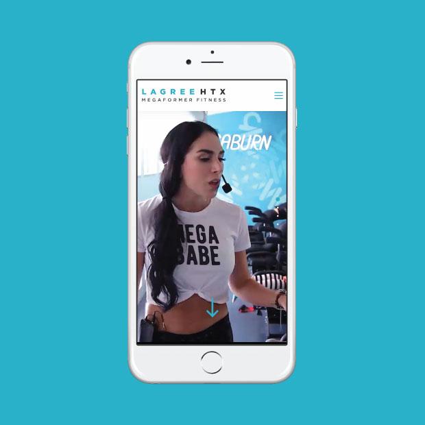 DesignGood Lagree Houston custom WordPress website on mobile
