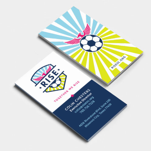 DesignGood business card design for RISE Soccer Club