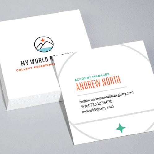 DesignGood business card design for My World Registry