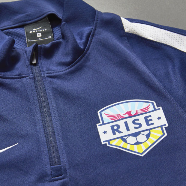 DesignGood merch design for RISE Soccer Club