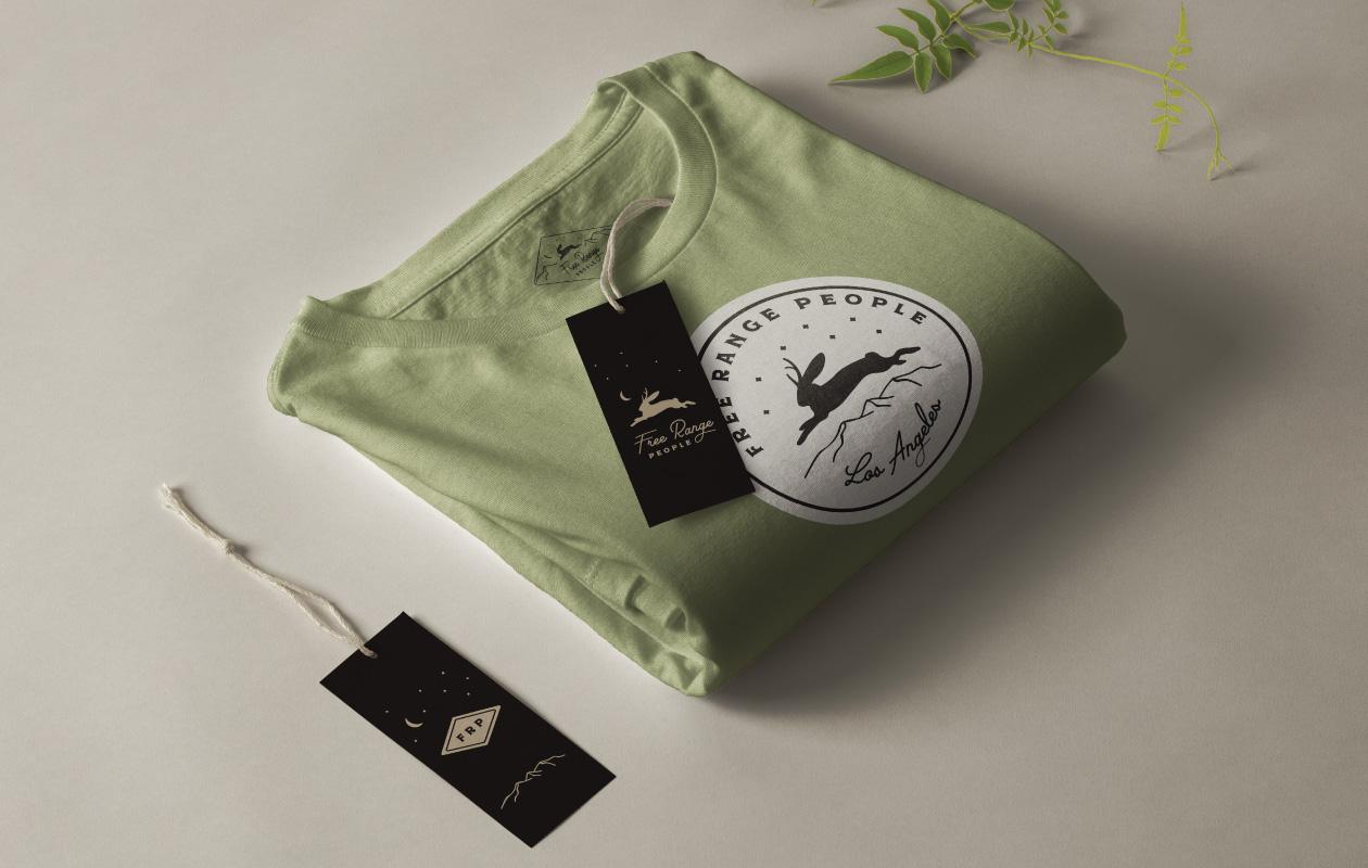 DesignGood Free Range People hang tags and t shirt design