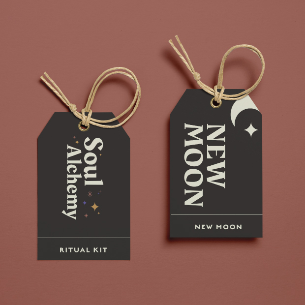 DesignGood Soul Alchemy logo and graphic on hang tags